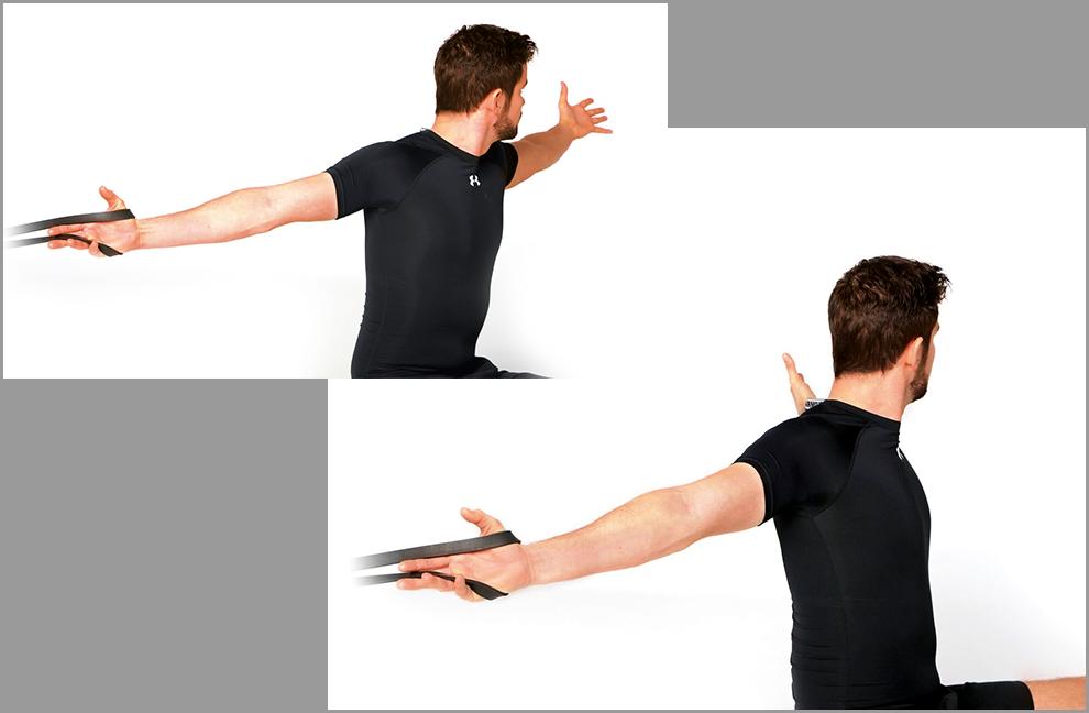 Übung 1: Arm Line Mobilizer. Eine Hand wird durch ein Powerband fixiert. Mit der anderen Hand so weit wie möglich aufdrehen. In verschiedenen Winkeln durchführen.