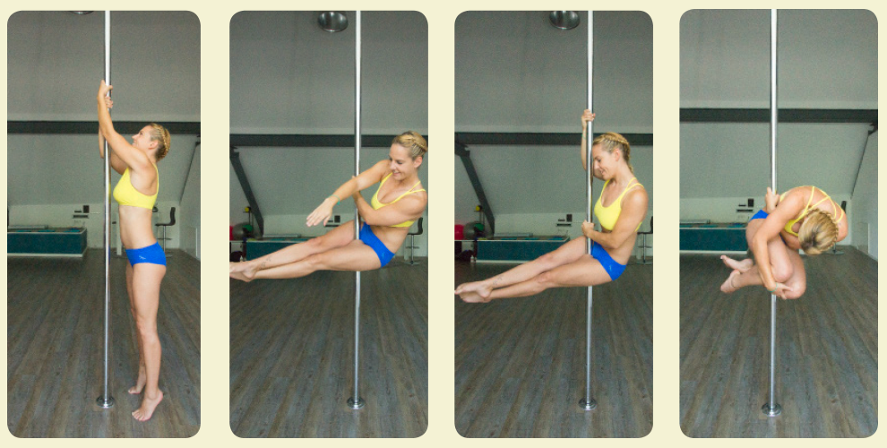 """Ball Seat, Cross Knee 1. Aufstellung hinter der Pole. Beide Hände greifen nach oben (Bild 1). 2. Der Körper wird mit den Armen etwas nach oben gezogen. Die hochgezogenen Beine werden vor der Pole überkreuzt und die Pole wird dabei zwischen die Oberschenkel geklemmt (Bild 2). 3. Von hier aus ist die Rücklage in den """"Ball Seat"""" in Richtung auf die Seite des unteren Beines möglich. Knapp über der Hüfte erfolgt der Griff mit der Hand (im Bild die linke) an die Pole. Der Oberkörper wird in die gleiche Richtung gelehnt (nach links). Die Hand des anderen Arms (im Bild rechts) greift links an der Pole vorbei. Die Beine müssen dabei immer Druck gegen die Pole haben. Die Beine anziehen und mit den Armen umgreifen (Bilder 3-4)."""