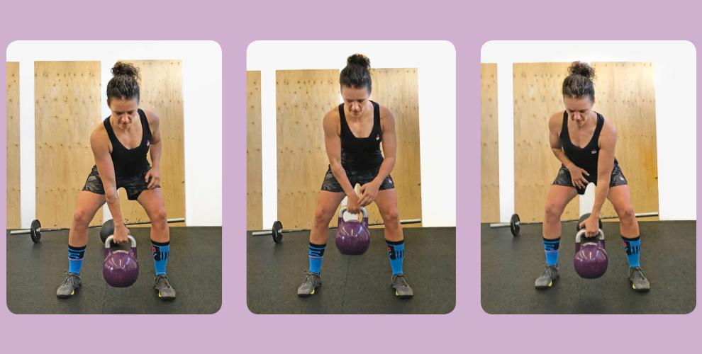 Kettlebell-Catch Nimm eine stabile Grundposition ein. Dein Stand ist ein einer leichten Squatposition, dein Rücken gerade und nach vorne geneigt. Nun übergebe im Wurf die Kettlebell vo n einer in die andere Hand und stabilisiere dabei reaktiv die wechselnde Krafteinwirkung auf deine hintere Kette. Bleibe dabei stabil und arbeite antirotatorisch.